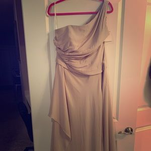 David's Bridal Biscotti One Shoulder Bridesmaid